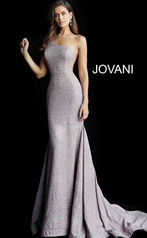 Mauve fitted long train asymmetric neckline prom dress 67650