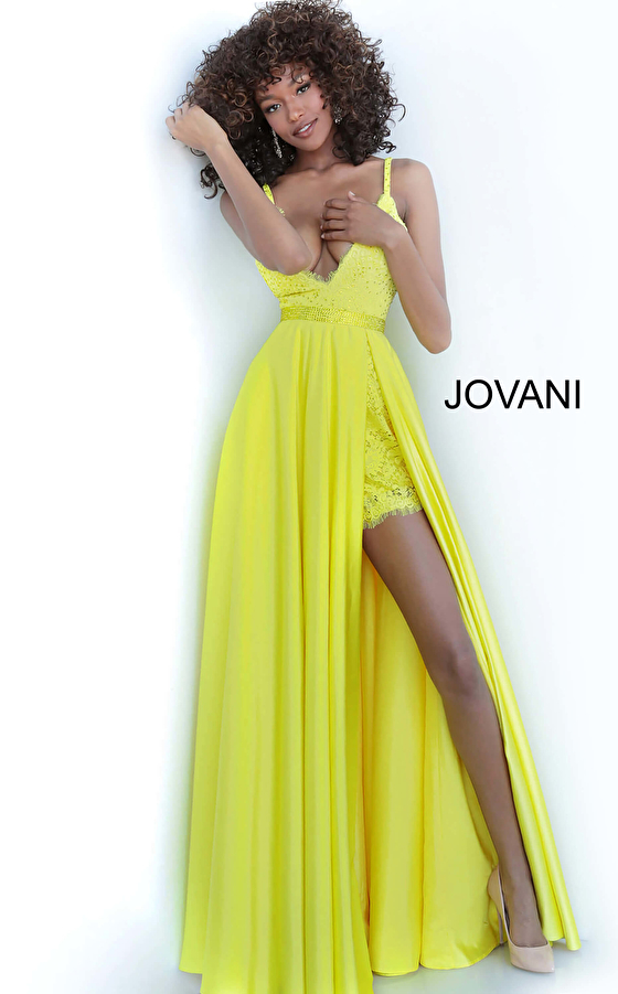 yellow plunging neck prom dress 68426