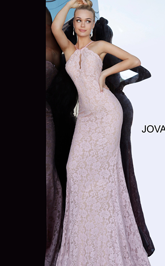 Light Pink Lace Fitted Prom Dress 68431