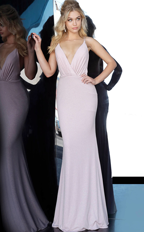Blush Fitted Prom and Bridesmaid Dress 68509
