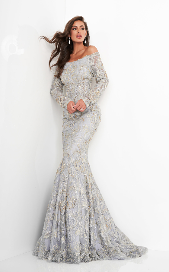 Jovani 68777 Silver Gold Long Sleeve Embroidered Mother of the Bride Dress
