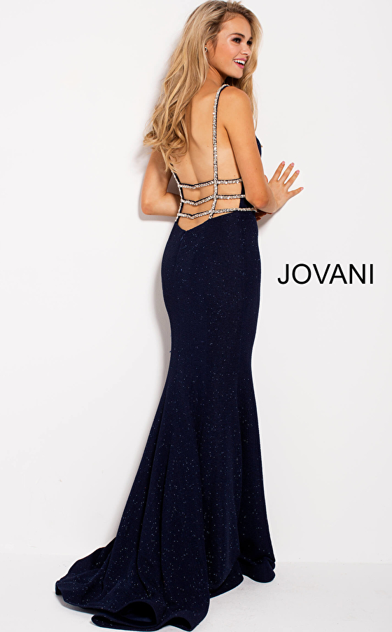 navy blue stretch fabric beaded straps prom dress 58549