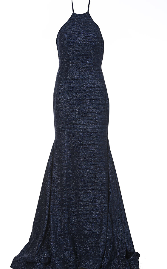 navy crew neck fitted prom dress 1139