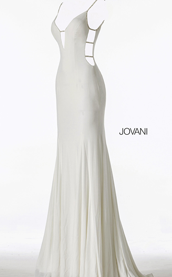 white and  silver sexy prom dress 57295
