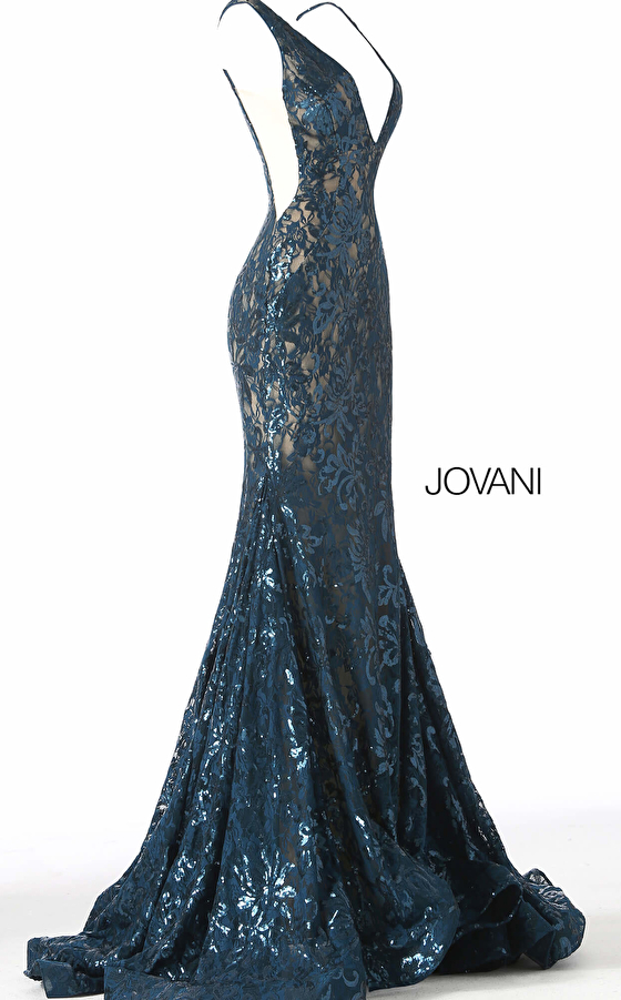 teal and nude sequin beaded dress 63437