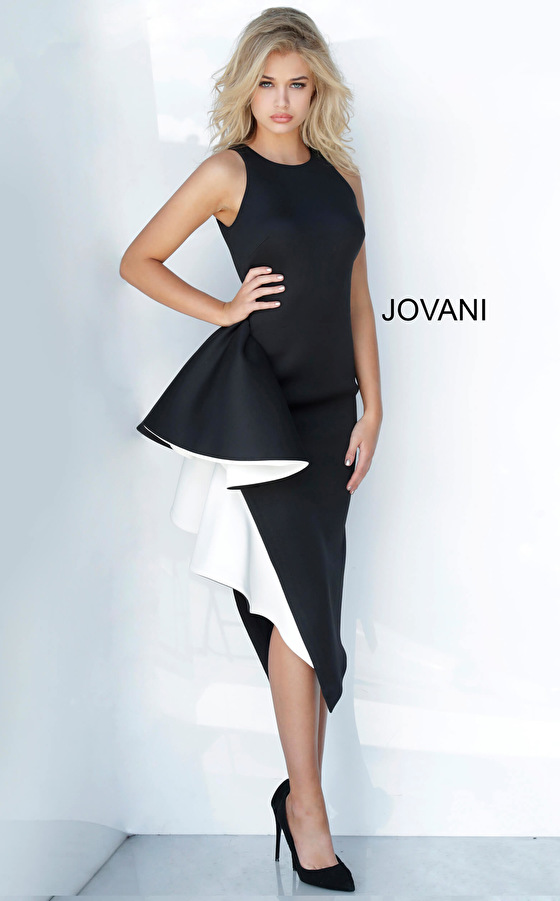 Jovani 00572 Black and White Elegant Fitted Cocktail Dress