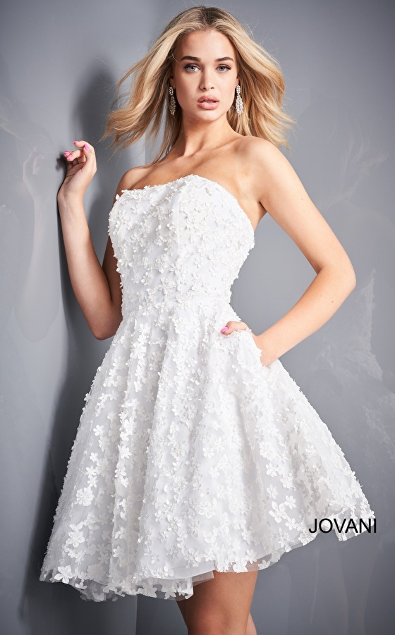 White cocktail dress with pockets Jovani 02564