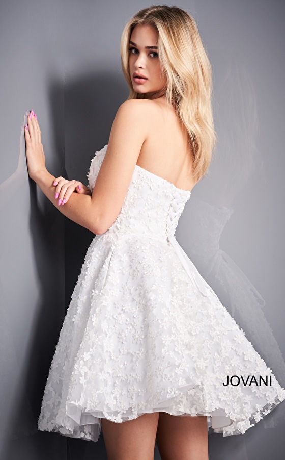 White fit and flare Jovani cocktail dress 02564