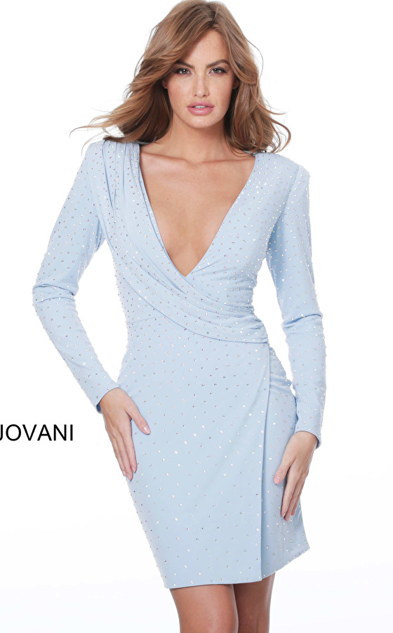 Jovani 04015 Light Blue Long Sleeve Draped Cocktail Dress