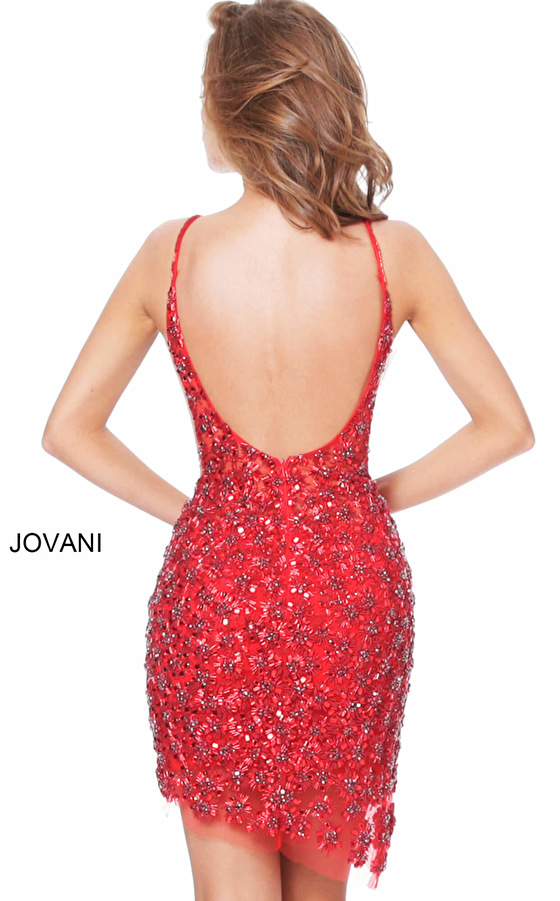 Red backless cocktail dress 04050