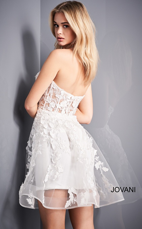 White fit and flare floral Jovani cocktail dress 04109
