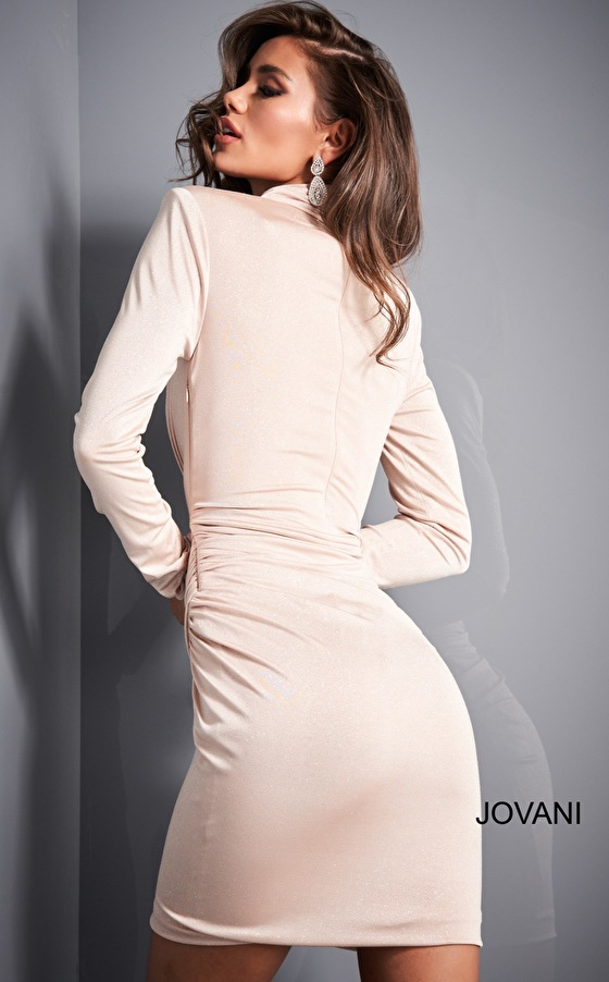 Close back nude silver cocktail dress 04291