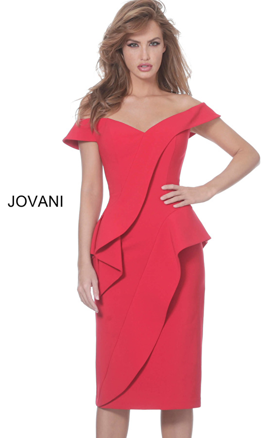 Jovani 04426 Red Off the Shoulder Knee Length Dress