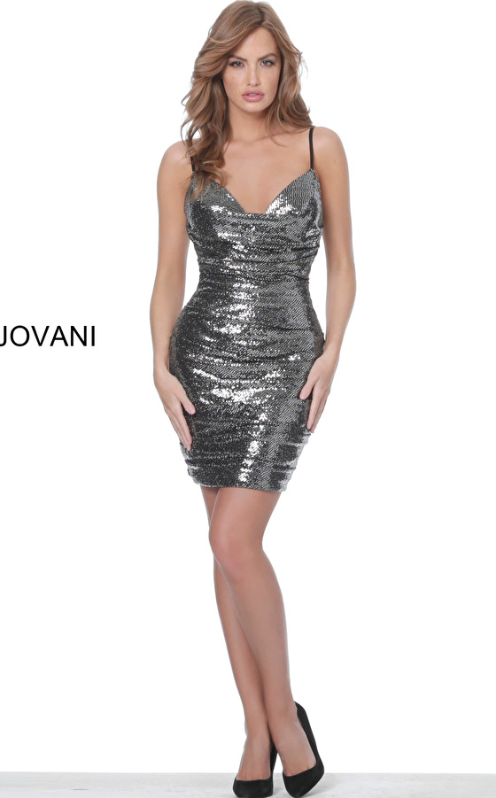 Dark grey metallic cocktail dress 04692