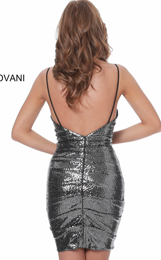 Backless dark grey cocktail dress 04692
