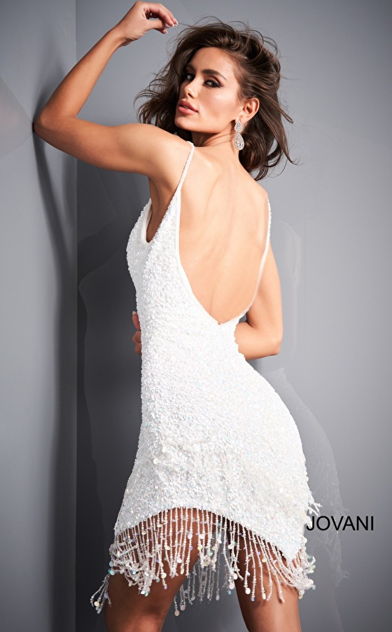 White backless Jovani cocktail dress 04866