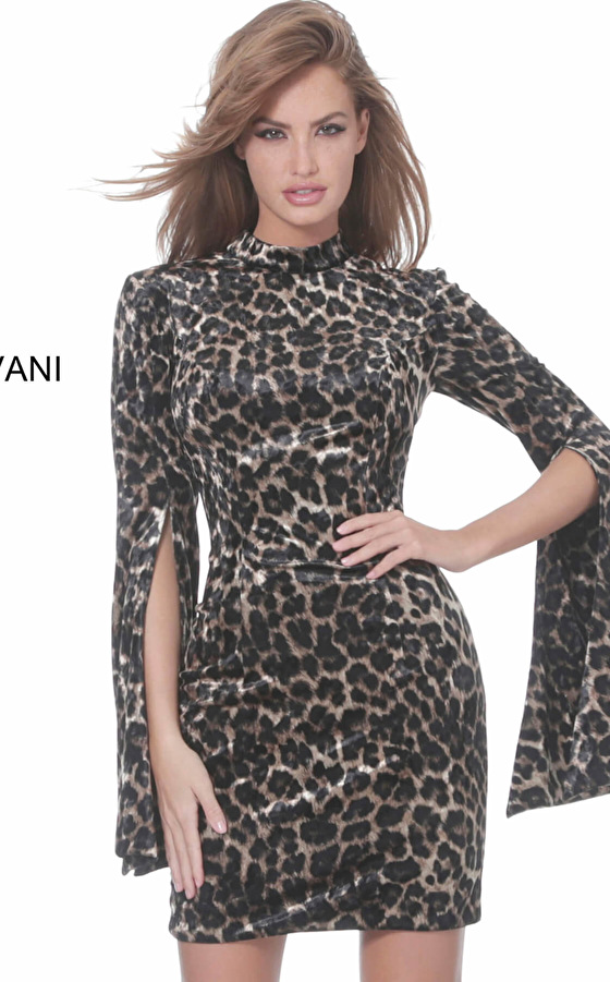 Jovani 04889 Animal Print High Neck Fitted Short Dress