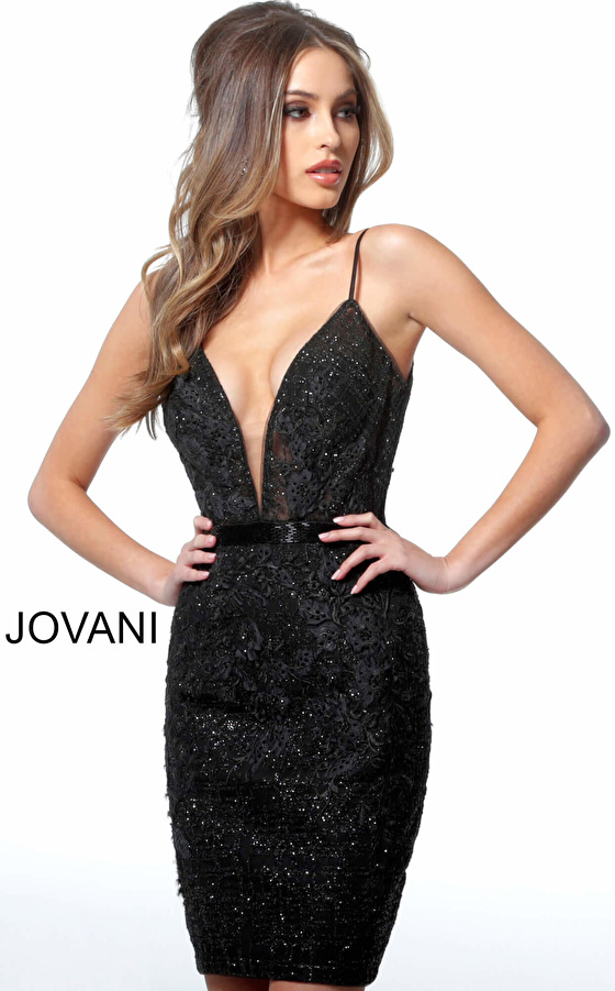 Black Embellished Plunging Neckline Cocktail Dress 1106