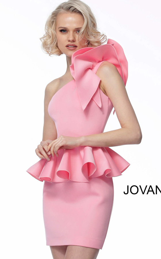 Jovani 1400 Pink One Shoulder Peplum Cocktail Dress