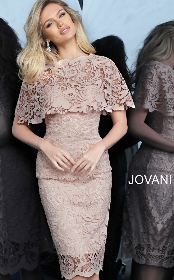 jovani Jovani 1401 Light Pink Fitted Knee Length Lace Cocktail Dress