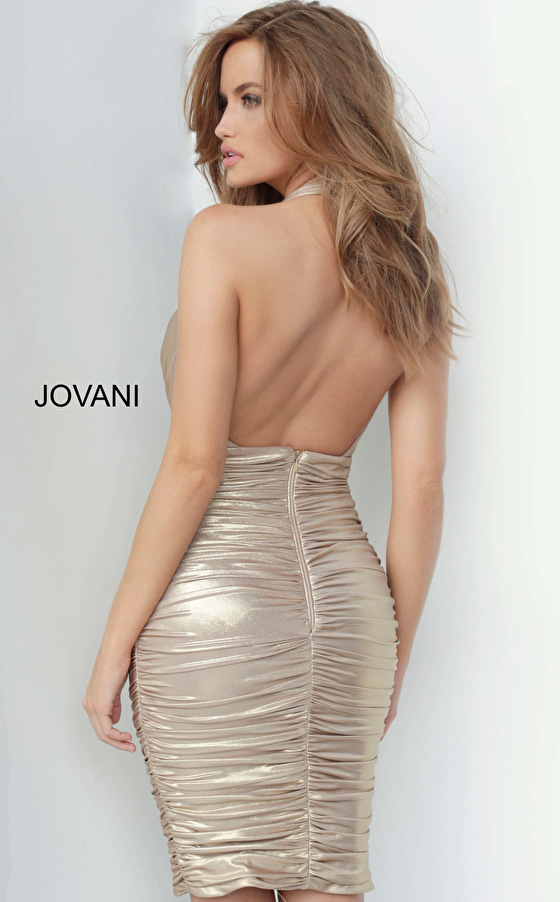 Backless stretch gold cocktail dress 1771