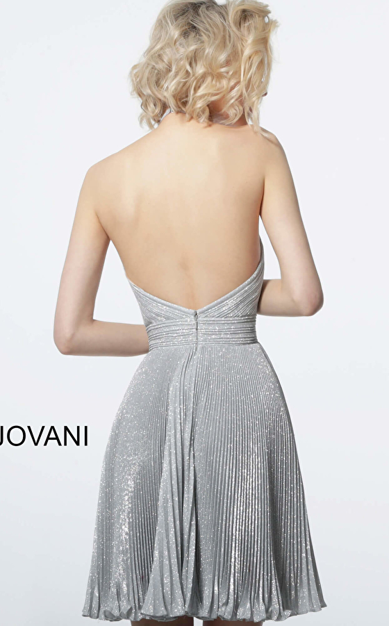 Jovani glitter pleated fit and flare cocktail dress 2087