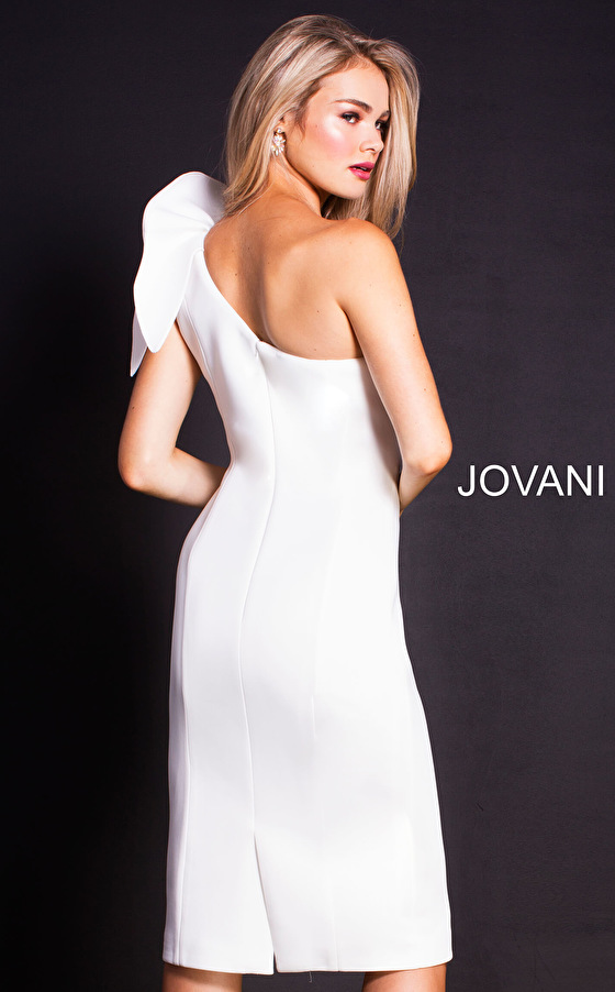 Jovani white shoulder ruffle fitted cocktail dress 23886