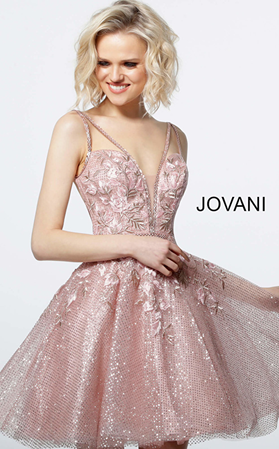 Jovani 3654 Blush Plunging Neck Fit and Flare Cocktail Dress