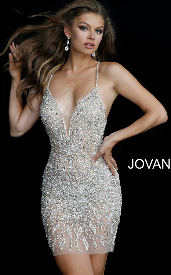 Nude Beaded Criss Cross Back Short Dress 40928
