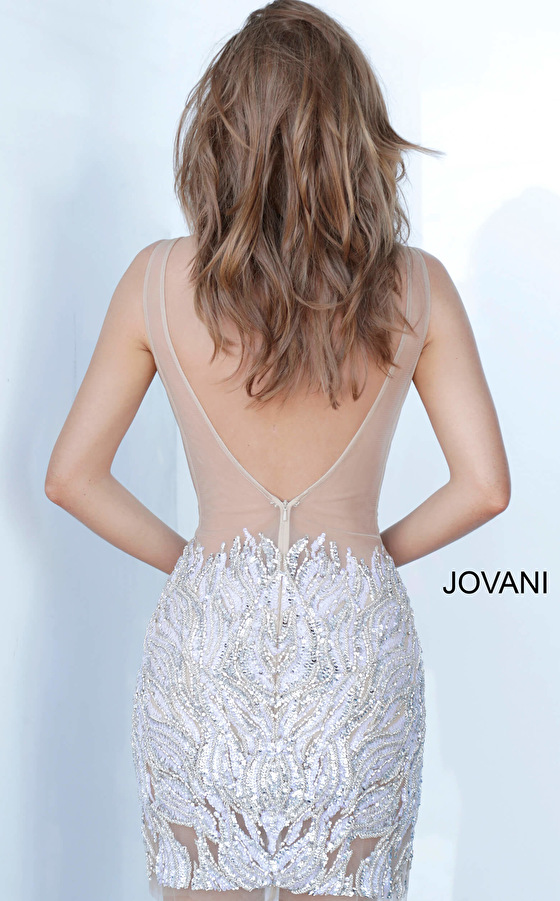 Backless sexy nude short dress 4545