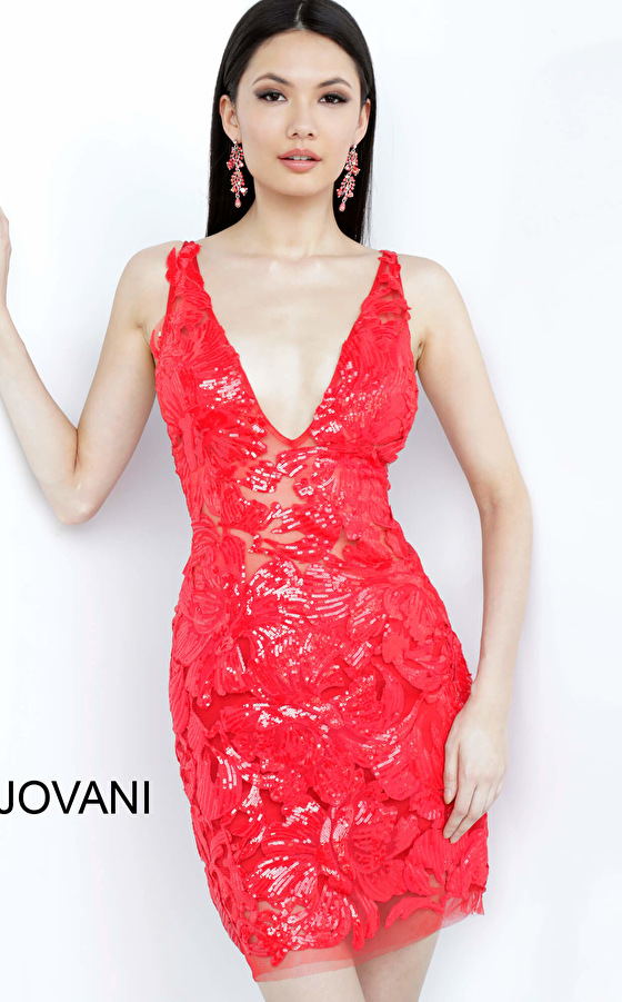 Jovani 4552 Red Embellished Fitted Cocktail Dress