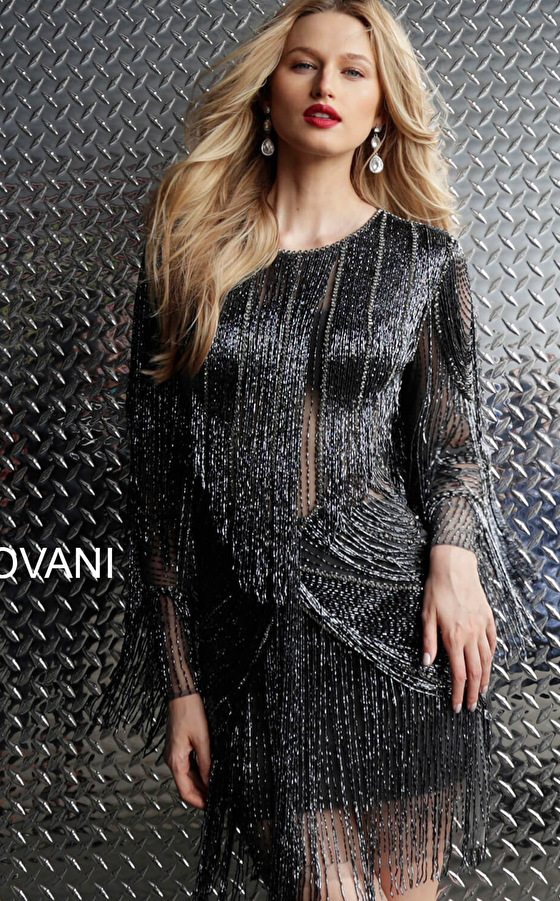 Gunmetal Fully Beaded Long Sleeve Short Dress 61636