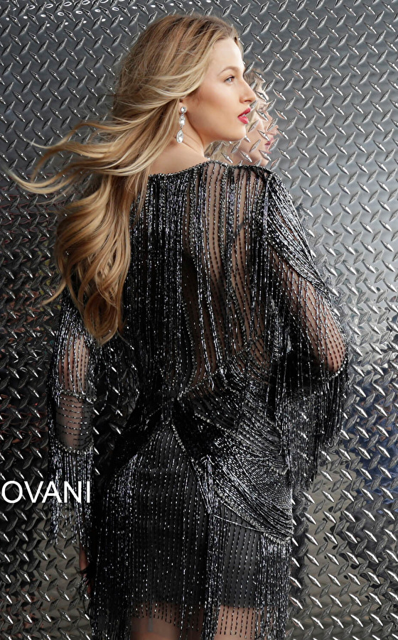 Jovani high neck long sleeve dress 61636