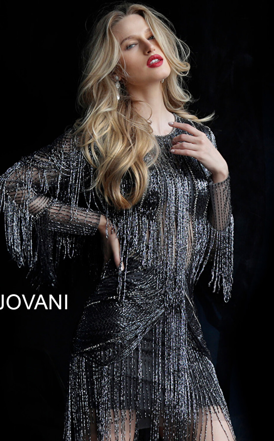 Jovani metallic fringe party dress 61636