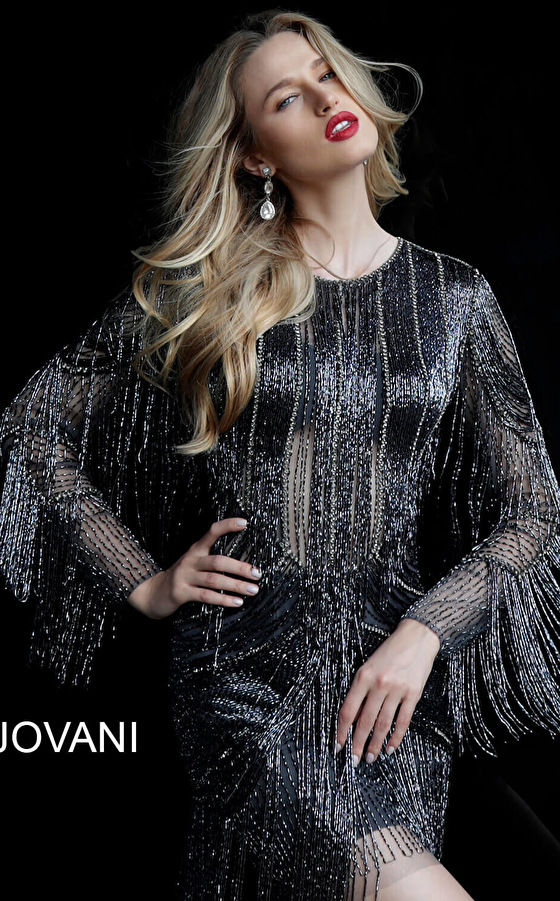 Jovani boat neck fringe party dress 61636