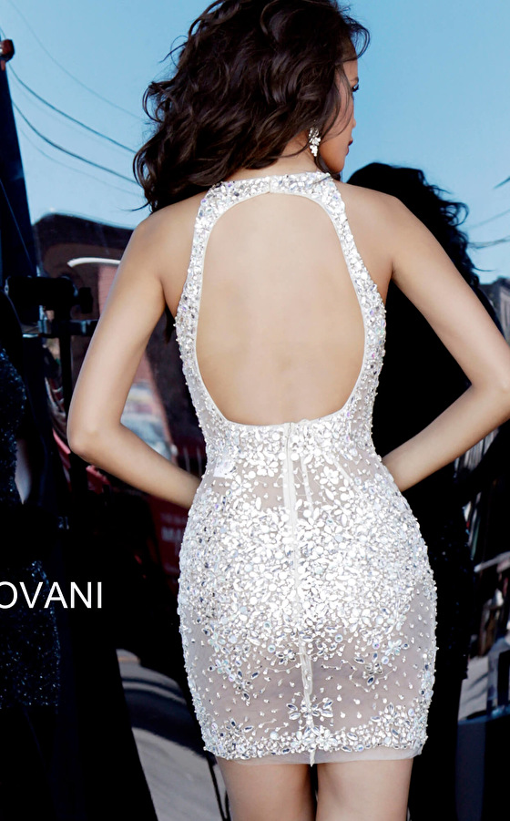 Jovani silver nude open back cocktail dress 64005
