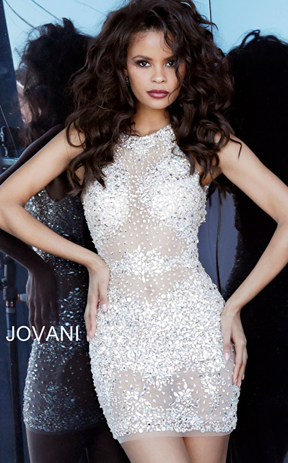 Silver nude fitted beaded cocktail dress Jovani 64005