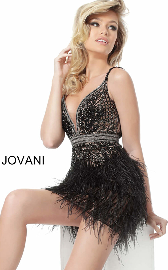 Jovani 64266 Black Plunging Neck Feather Skirt Cocktail Dress