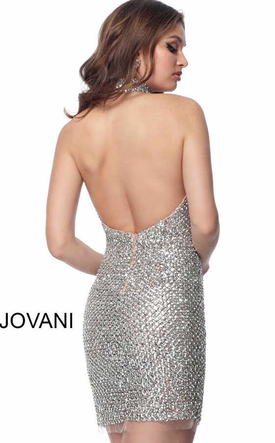Jovani silver backless fitted short dress 66549