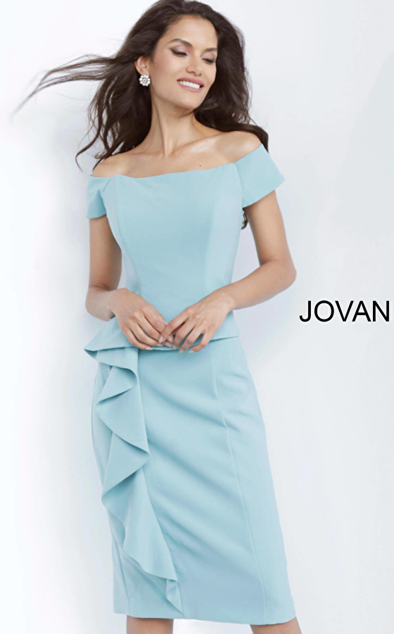 Jovani 68767 Seafoam Off the Shoulder Knee Length Cocktail Dress
