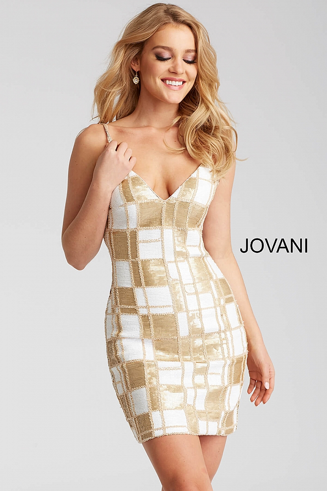 jovani Ivory and Gold Sequined Spaghetti Straps Short Dress 53105