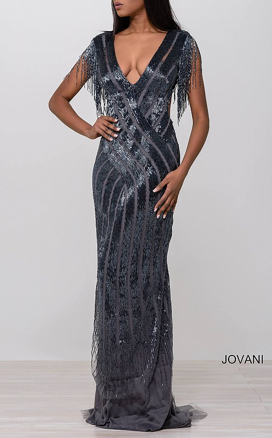 Jovani 40900 Nude and Silver Beaded Open Back Dress