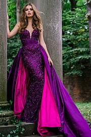 Purple Sweetheart Neck Embellished Couture Dress 36826