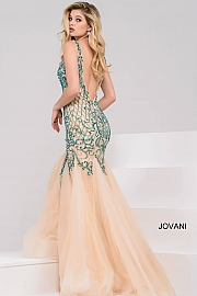 Nude and Green Embellished Sleeveless Open Back Dress 36523