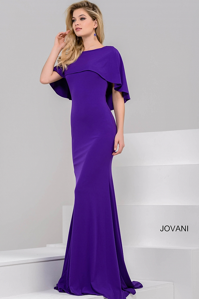 Purple long fitted jersey dress with cape neckline.