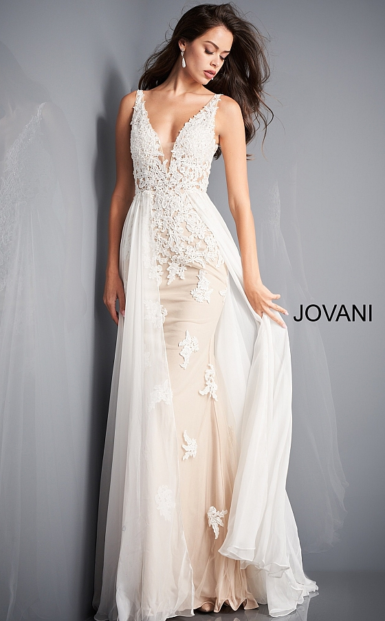 Jovani 3117 Off White Nude Fitted Informal Wedding Dress