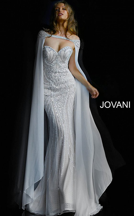 Jovani 45566 Ivory off the Shoulder Embellished Wedding Dress