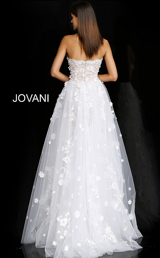 Off white nude Jovani 55616 back view