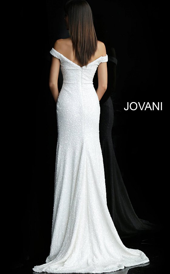 Off White Sequin Embellished Fitted Bridal Dress 61089