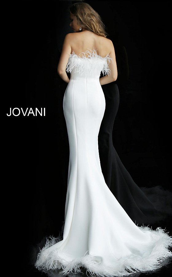 Jovani strapless feather evening gown 63891
